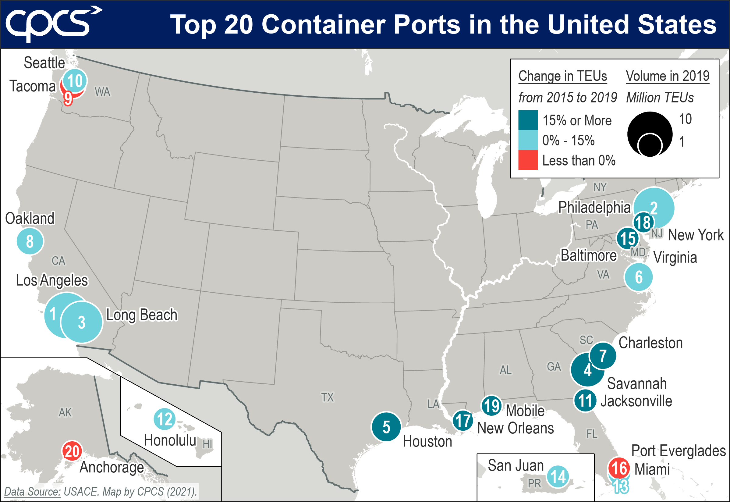 Map of the top 20 container ports in the United States
